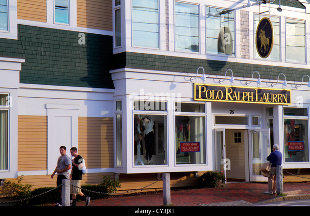 Maine Freeport Main Street Route 1 shopping Polo Ralph Lauren clothing fashion outlet front entrance - Stock Image