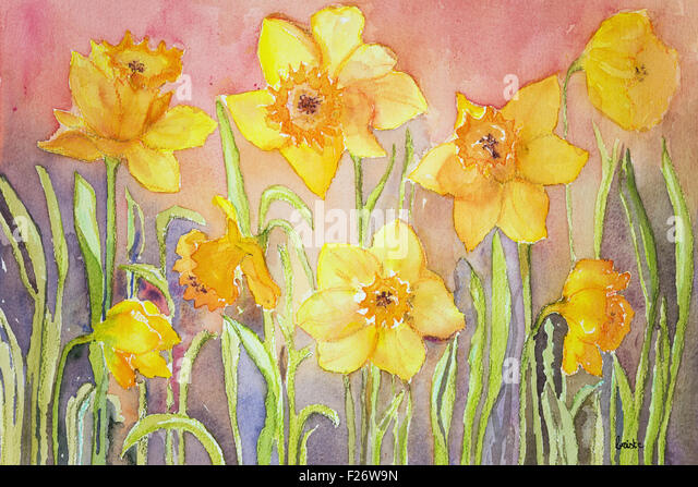Yellow narcissus in a grassy environment. The dabbing technique gives a soft focus effect due to the altered surface - Stock Image