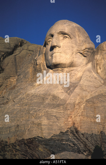 South Dakota Mount Rushmore National Memorial President George Washington - Stock Image