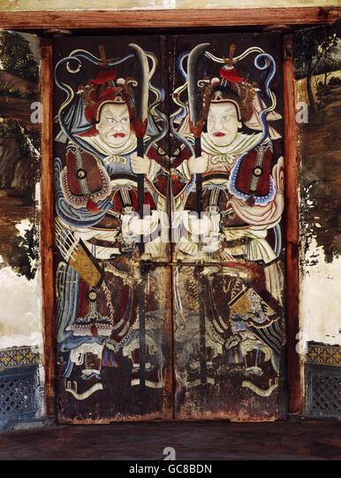 fine arts, Thailand, painting, guards, Wat Phra Kaew Temple, 19th century, - Stock Image
