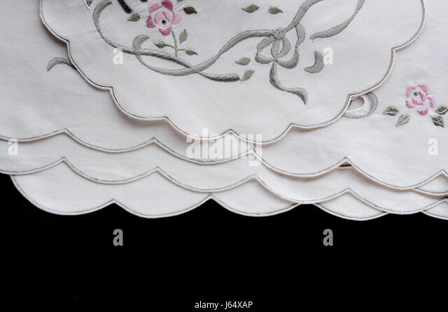 decorative fabric stitching cloth backdrop background embroidery texture black - Stock Image