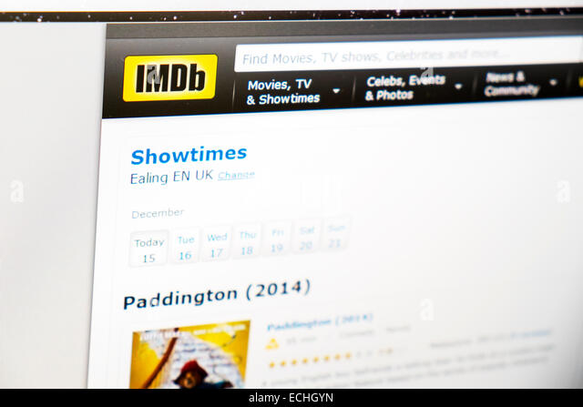 imdb internet movie database website web movies computer screen showtimes - Stock Image