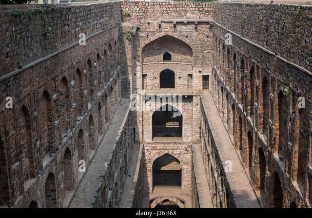 Underground step-well Ugrasen ki Baoli in heart of New Delhi, India. 14th Century AD - Stock Image