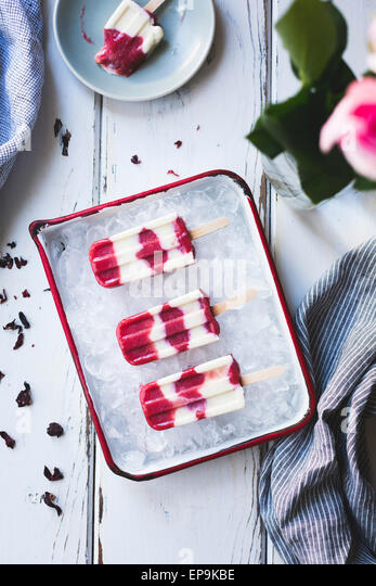 Hibiscus, Rhubarb and Yogurt Ice Pops - Stock Image