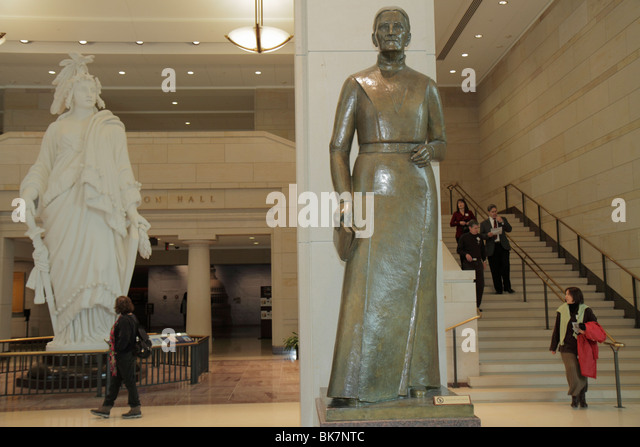 Washington DC United States US Capitol Emancipation Hall Visitor Center woman man Maria Sanford Minnesota bronze - Stock Image