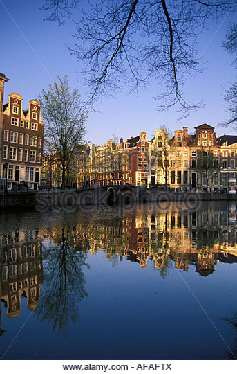 Netherlands Amsterdam Buildings by canal called Herengracht - Stock-Bilder