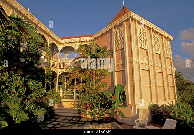 St Lucia caribbean island islands west indies Manderley Plantation House at LeSport - Stock Image