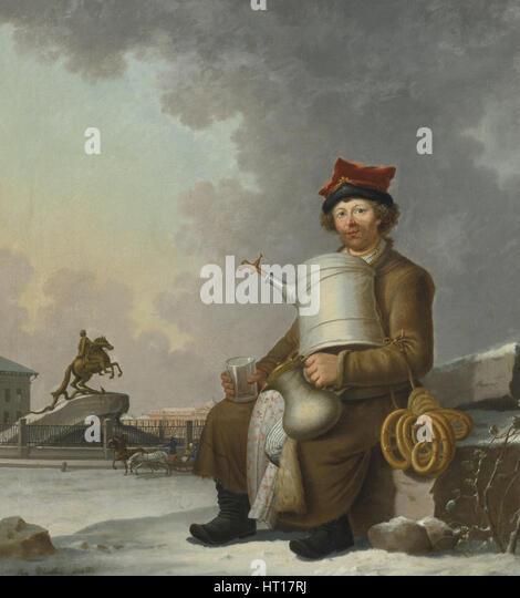 Sbiten Seller in St. Petersburg, 1800. Artist: Paterssen, Benjamin (1748-1815) - Stock Image