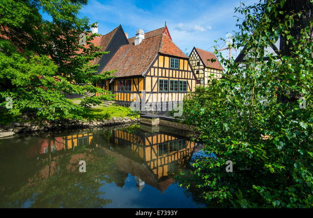 Little pond in the Old Town, Den Gamle By, open air museum in Aarhus, Denmark, Scandinavia, Europe - Stock Image