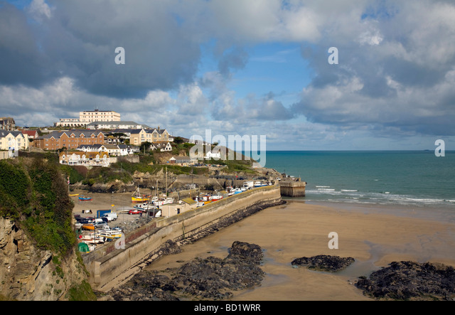 newquay harbour at low tide cornwall - Stock Image