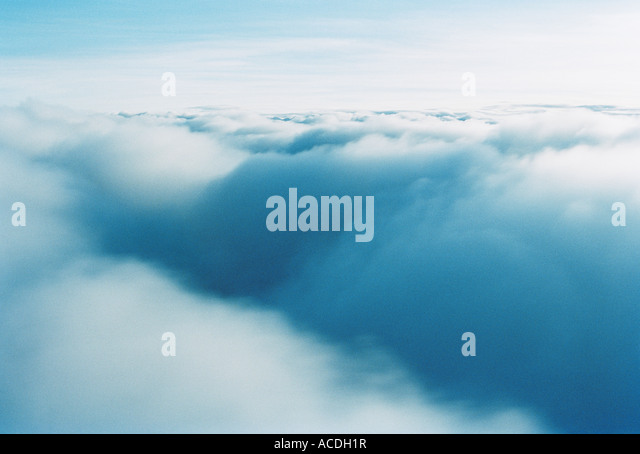 Dense cloud mass photographed from above. - Stock Image