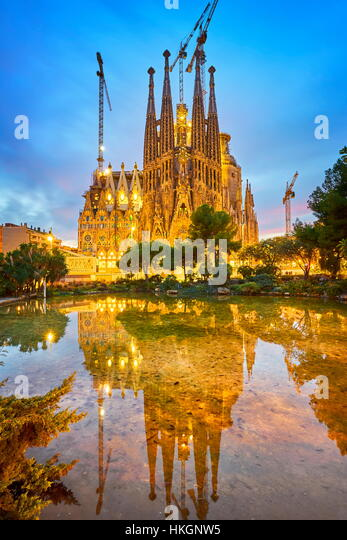 Sagrada Familia Cathedral design by Antoni Gaudi, Barcelona, Catalonia, Spain - Stock Image