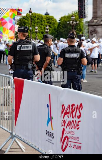 Paris, France. 24th Jun, 2017. Gendarmes (military police) patrolling during the Paris Olympic Games 2024 showcase. - Stock Image