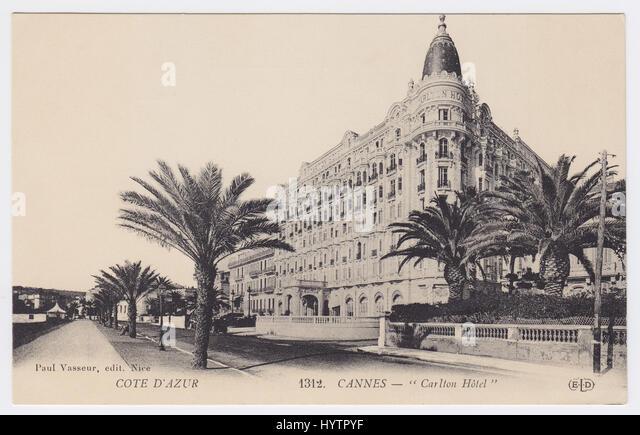 Hotel Carlton & Boulevard de la Croisette, Cannes, France - Stock Image