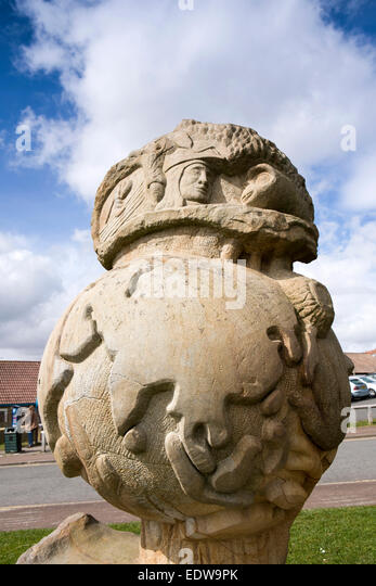UK, England, Yorkshire, Robin Hood's Bay, Wooden globe sculpture above the Lower Village - Stock Image
