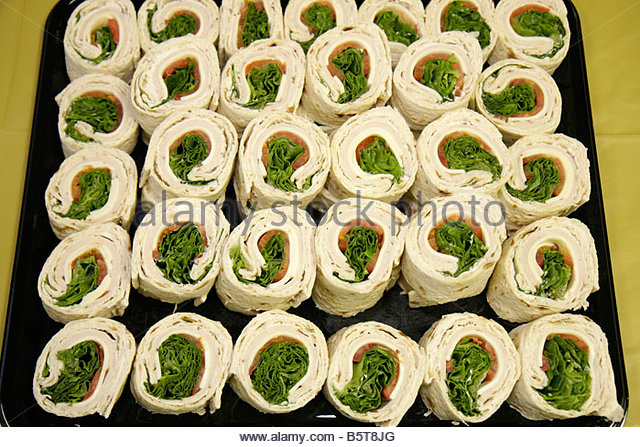 Miami Florida sandwich wrap turkey platter tray arrangement rows food lunch - Stock Image