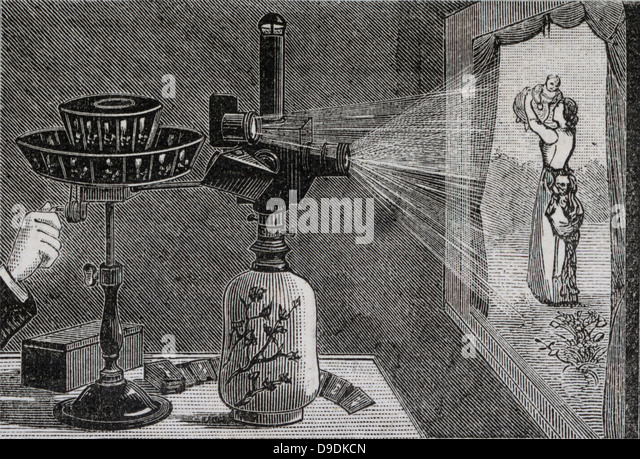 Projecting an image using Reynaud's praxinoscope. Engraving 1884. - Stock-Bilder