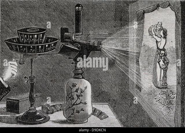 Projecting an image using Reynaud's praxinoscope. Engraving 1884. - Stock Image