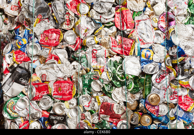 aluminum (aluminium) drinks cans crushed into bales for recycling - Stock Image