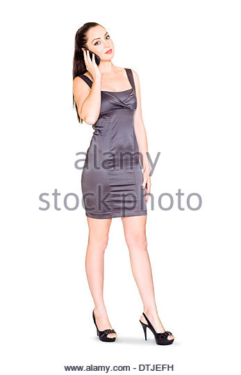 Fully Body Isolate Portrait Of An Attractive Female Business Sales Rep Communicating With Customers On A Mobile - Stock Image