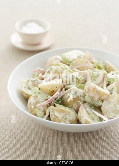 Plate of potato salad - Stock Image