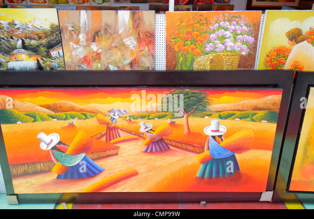 Peru Lima Surquillo Avenida Ricardo Palma Artesanias Miraflores handicrafts store souvenir shopping painting landscape - Stock Image