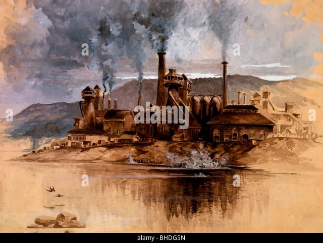 Bethlehem Steel Works - Bethlehem, Pennsylvania  - Watercolor in sepia brown, white and gray, on buff paper. May - Stock-Bilder