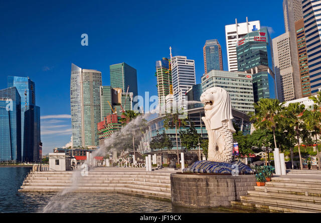 Merlion and Central Business District Singapore - Stock Image