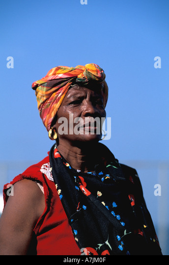 Dominica West Indies Caribbean Roseau Market Woman in Traditional Creole Wear - Stock Image
