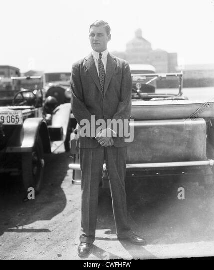 John Jacob Astor VI standing by a car in Newport, Rhode Island, ca 1935 - Stock Image