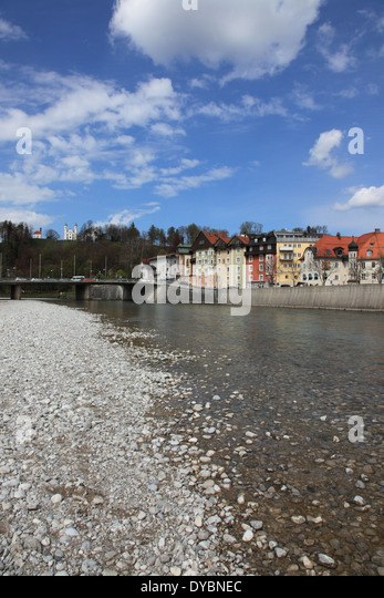 dry riverbed of Isar at Bad Toelz, Upper Bavaria, Germany. Photo by Willy Matheisl - Stock Image