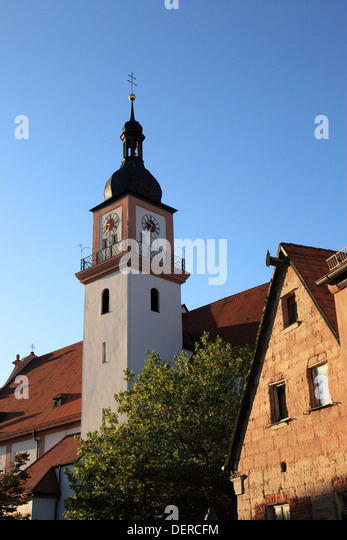 St. Johann Baptist church at the city Hilpoltstein, Middle Franconia, Franconia, Bavaria, Germany. Photo by Willy - Stock Image