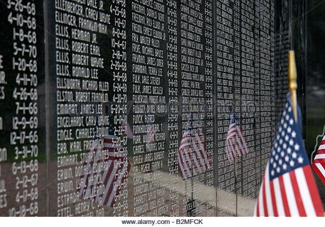 Indiana Chesterton War Memorial monument patriotism remembrance military honor heroe names veterans death flags - Stock Image