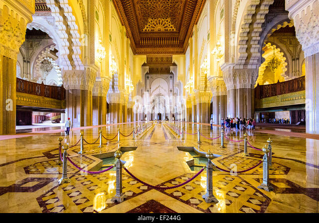 Casablanca, Morocco in the interior of Hassan II Mosque. - Stock Image