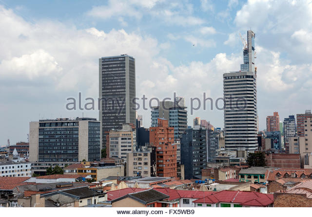 Bogota Colombia View over downtown. - Stock Image
