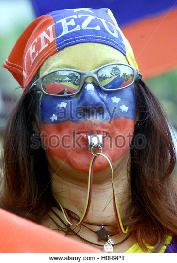 A Venezuelan protests against president Hugo Chavez in Caracas January  25. 2003. Thousands of foes of President - Stock Image