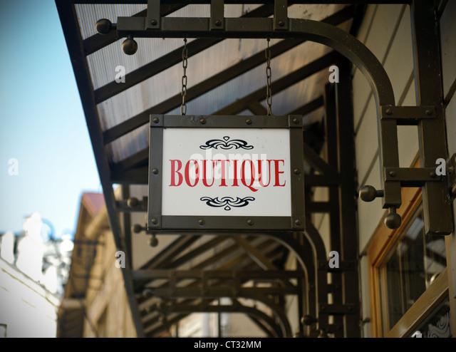 Boutique shop sign - Stock Image