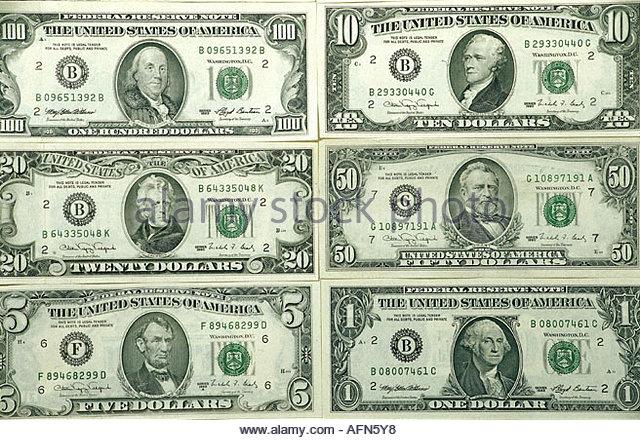 money / finance, bank notes, US, 1, 5, 10, 20, 50, 100 Dollars, portrait, portraits, American politicians, politician, - Stock Image