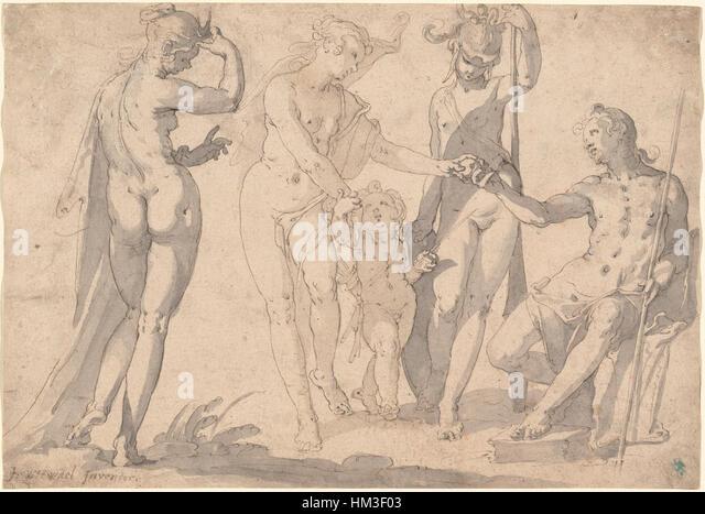 Joachim Anthonisz Wtewael - The Judgment of Paris, 1615 - Stock Image