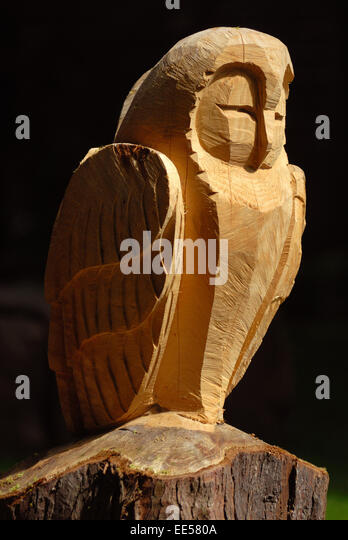 Wooden owl carving stock photos