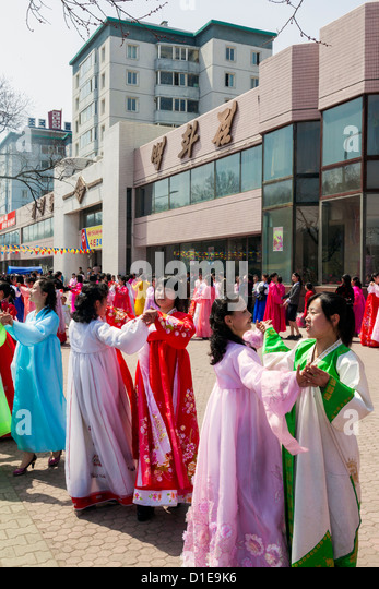 Women in traditional dress during 100th anniversary of the birth of President Kim Il Sung, April 2012, Pyongyang, - Stock Image