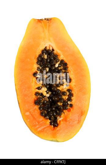 Half papaya cutout on white background - Stock Image