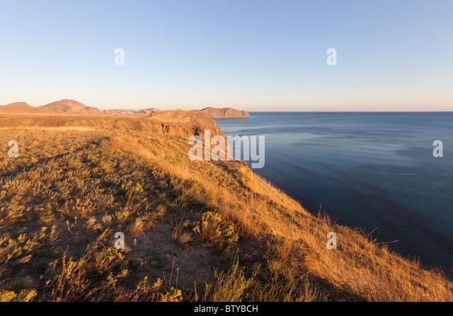 sunset on the eastern coast of Black sea. Crimea, Ukraine - Stock Image