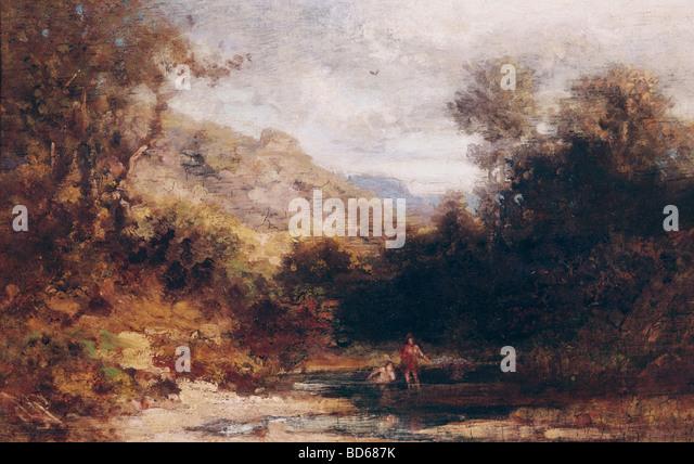 fine arts, Spitzweg, Carl (1808 - 1885), painting, bathing people, private collection, Munich, Karl, German, Biedermeier, - Stock Image