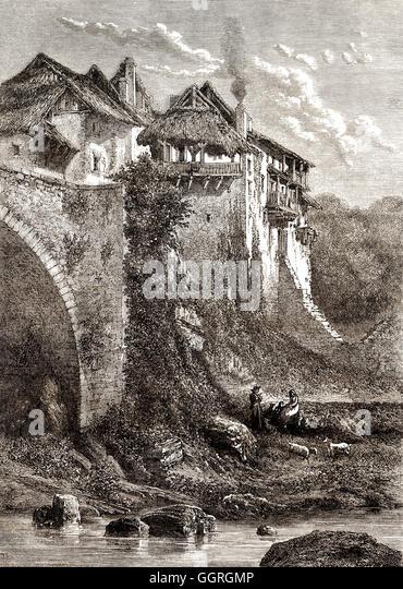 City-scape of Alby-sur-Chéran, a commune in the Haute-Savoie department, Rhône-Alpes region, France, 18th - Stock-Bilder