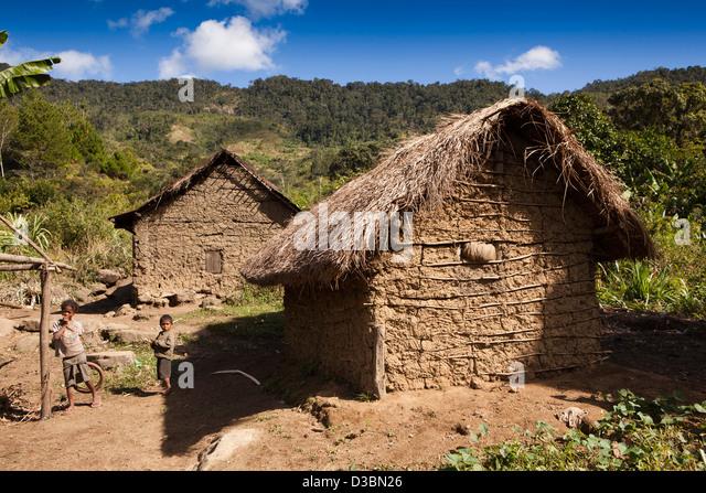 Madagascar, Ranomafana, wattle and daub farmhouse outside national park - Stock Image