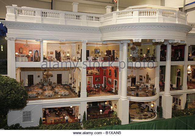 Arkansas Little Rock William J. Clinton Presidential Library miniature White House scale model rooms furniture replica - Stock Image
