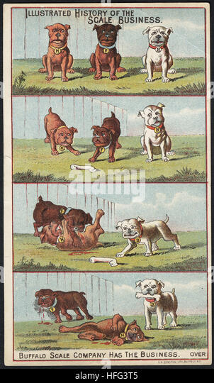 Agriculture Trade Cards - Illustrated history of the scale business. Buffalo Scale Company has the business - Stock Image
