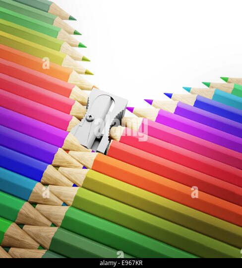 A row of pencils and sharpener forming a zipper - arts, creativity and school illustration - Stock Image
