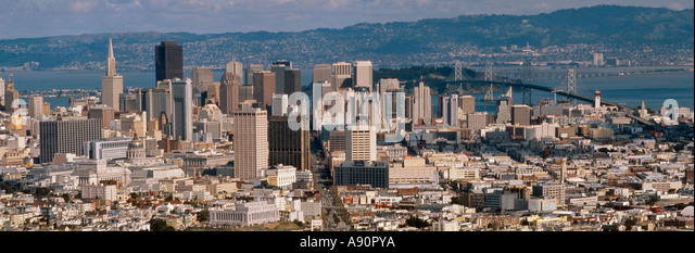 USA Los Angeles panoramic view downtown LA skyline - Stock Image